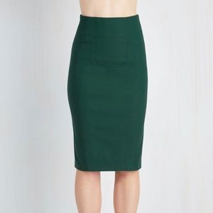 Plus Size Forest Green Pencil Skirt